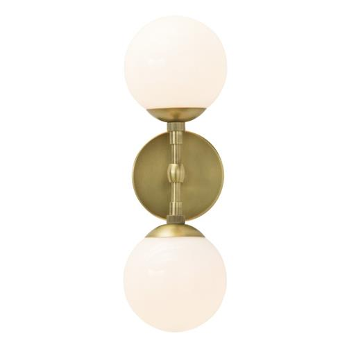 Arteriors Polaris Modern Classic Frosted Glass Globe Antique Brass Metal Sconce | Kathy Kuo Home