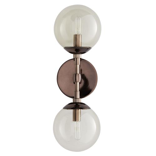 Arteriors Polaris Modern Classic Smoked Glass Globe Brown Nickel Sconce | Kathy Kuo Home
