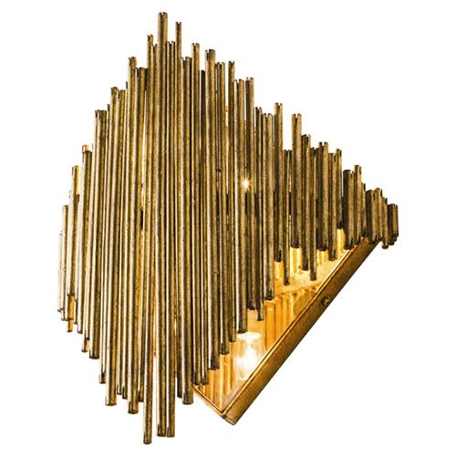 Arteriors Prescott Regency Deco Gold Iron Diamond Wall Sconce | Kathy Kuo Home