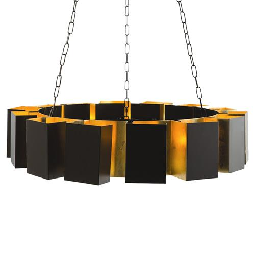 Arteriors Vaughn Modern Deco Gold Boxed Bronze Ring Chandelier | Kathy Kuo Home