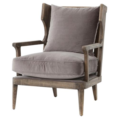 Ichabod Rustic Lodge Grey Brown Wood Plush Arm Chair | Kathy Kuo Home