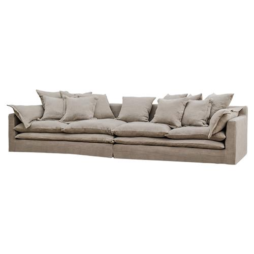 Loose Pillow Back Sofa: Donatella Coastal Beach Grey Sand Loose Pillow Sofa