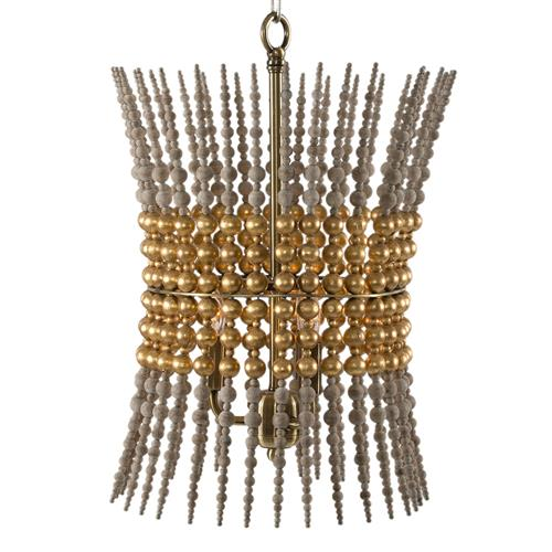 Hermosa Modern Regency Gold Bead Column Pendant | Kathy Kuo Home