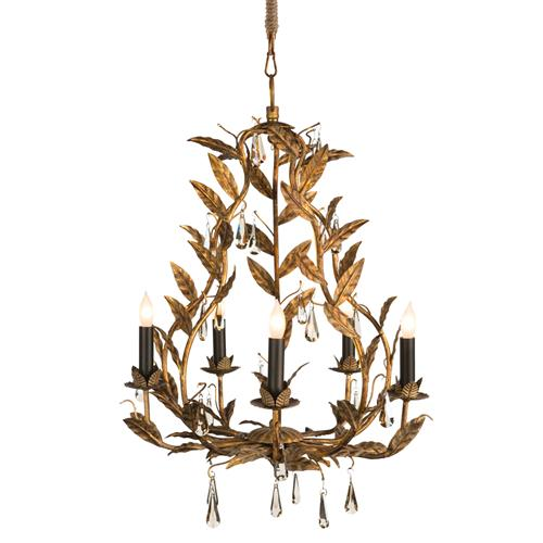 Palmier French Country Rustic Gold Leaves Chandelier | Kathy Kuo Home