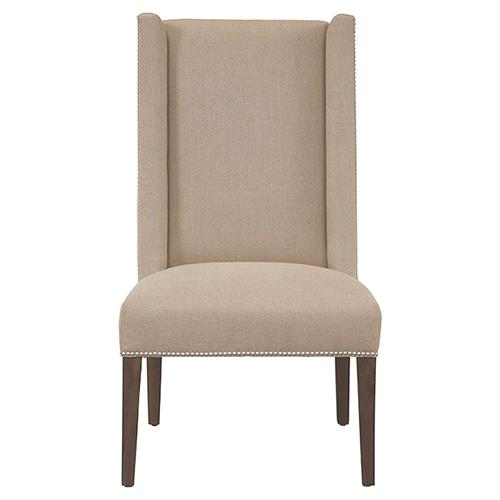 Zinnia Modern Tan Linen Wing Side Chair | Kathy Kuo Home