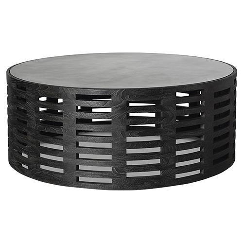 Dahlia Modern Classic Teak Cut Out Round Black Coffee Table | Kathy Kuo Home