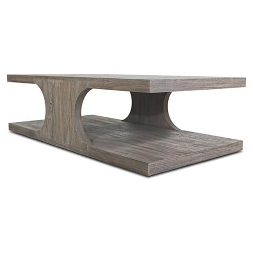 Ainslee Modern Classic Angular Rustic Teak Coffee Table | Kathy Kuo Home