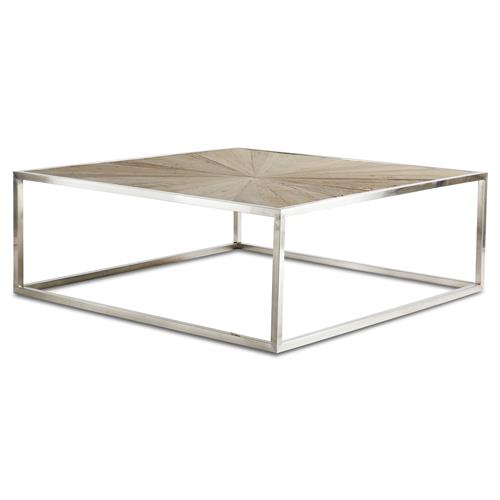 Katie Industrial Reclaimed Elm Brushed Steel Coffee Table | Kathy Kuo Home