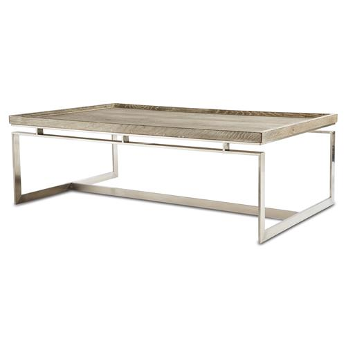 Amor Industrial Modern Polished Steel Oak Tray Coffee Table | Kathy Kuo Home