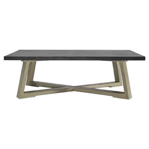 Bekah Industrial Rustic White Oak Cement Coffee Table | Kathy Kuo Home