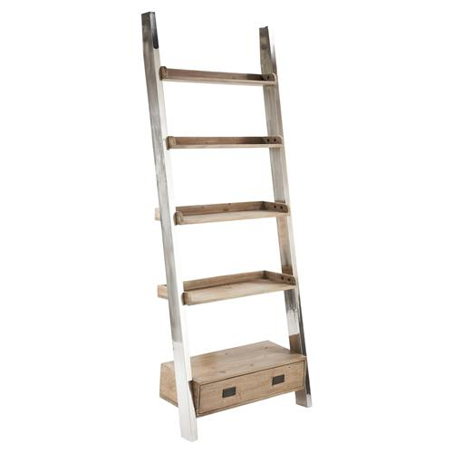 Woodrow Recycled Elm Stainless Steel Ladder Bookcase | Kathy Kuo Home