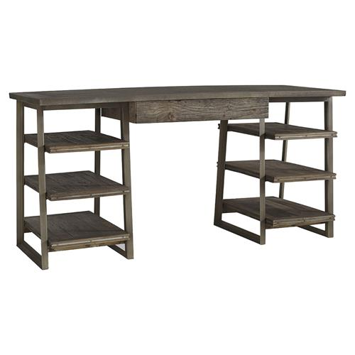 Hill Rustic Industrial Zinc Elm Wood Desk | Kathy Kuo Home