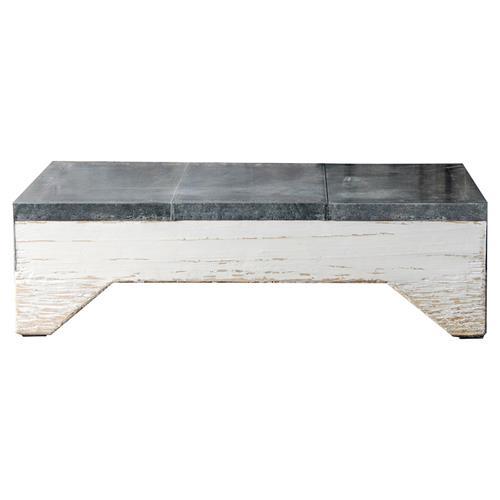 White Sheet Metal : Hobson rustic lodge white wood sheet metal lined coffee