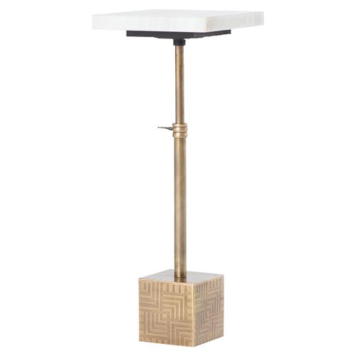 Hauer Industrial Gold Metal Cube Marble Adjustable Height End Table | Kathy Kuo Home