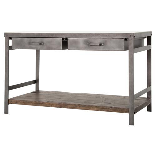 baker industrial washed metal drawer marble kitchen island