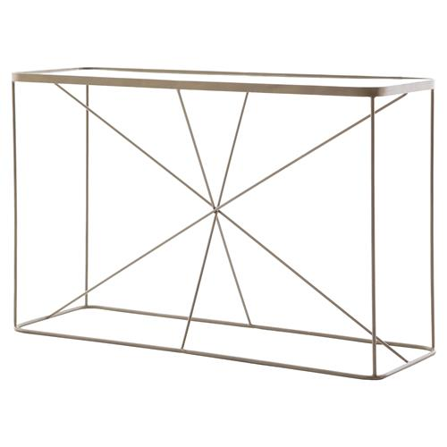 Jemma Modern Brass Cross Frame Console Table | Kathy Kuo Home