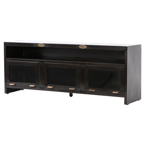 Fitz Industrial Loft Dark Brown 3 Cabinet Metal Media Cabinet | Kathy Kuo Home
