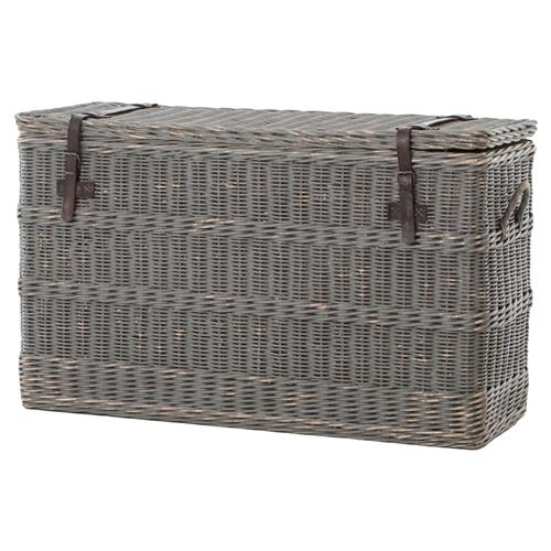 Florin Rustic Lodge Grey Leather Strap Wicker Trunk | Kathy Kuo Home