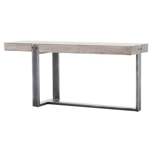 Frantz Industrial Asymmetrical Grey Metal Concrete Console Table | Kathy Kuo Home