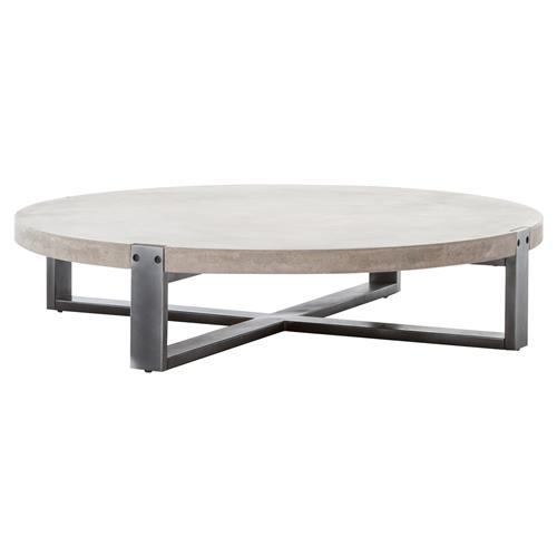 Frantz Loft Modern Grey Concrete Low Round Coffee Table