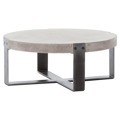 Low Modern Coffee Table: Frantz Loft Modern Grey Concrete Low Round Coffee Table- 30D