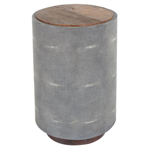 Dieter Rustic Modern Grey Faux Shagreen Wood Round Side Table | Kathy Kuo Home