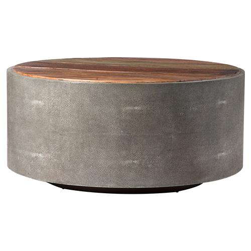 Dieter Rustic Modern Grey Faux Shagreen Wood Round Coffee Table | Kathy Kuo Home