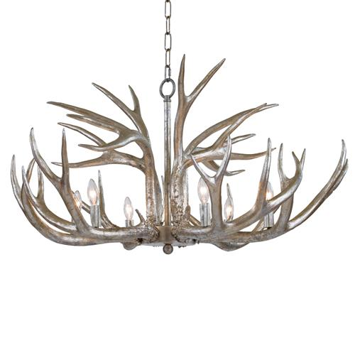Regina Andrew Silver Rustic Lodge Silver Leaf Antler Chandelier | Kathy Kuo Home