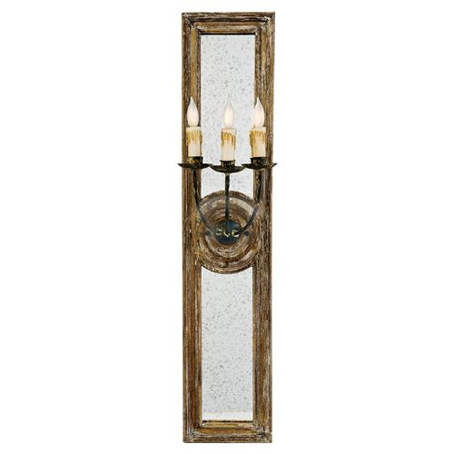 Regina Andrew French Country Wood Antique Mirror 3 Arm Sconce - 40H | Kathy Kuo Home