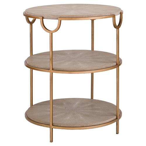 Regina Andrew Vogue Regency Grey Shagreen Round Brass End Table | Kathy Kuo Home