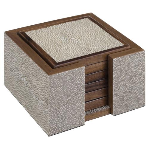 Elora Hollywood Regency Light Grey Shagreen Wood Coasters | Kathy Kuo Home