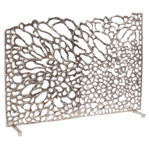 John-Richard Dahlia Modern Classic Silver Floral Petal Fireplace Screen | Kathy Kuo Home