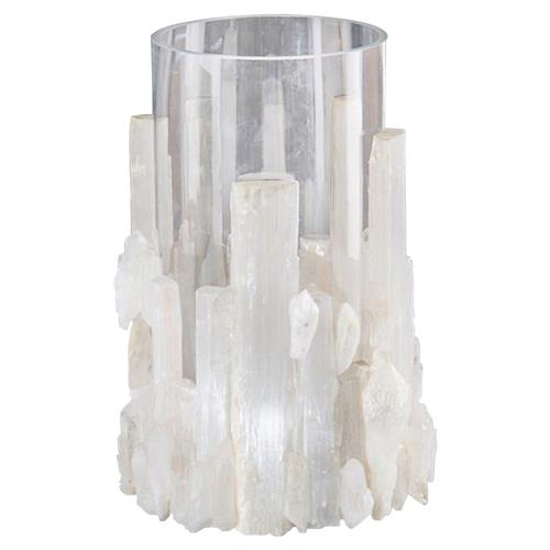 John-Richard Ginny Coastal Modern White Selenite Crystal Glass Candleholder | Kathy Kuo Home