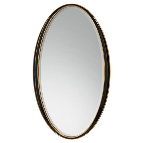 ... Hollywood Regency Black Lacquer Oval Wall Mirror : Kathy Kuo Home