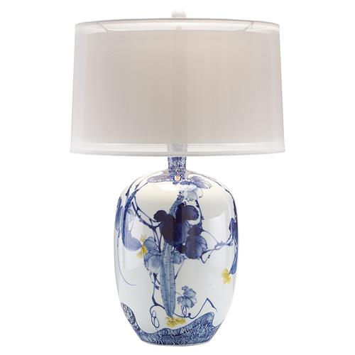 Miyah Global Bazaar Blue Asian Blooms Table Lamp | Kathy Kuo Home