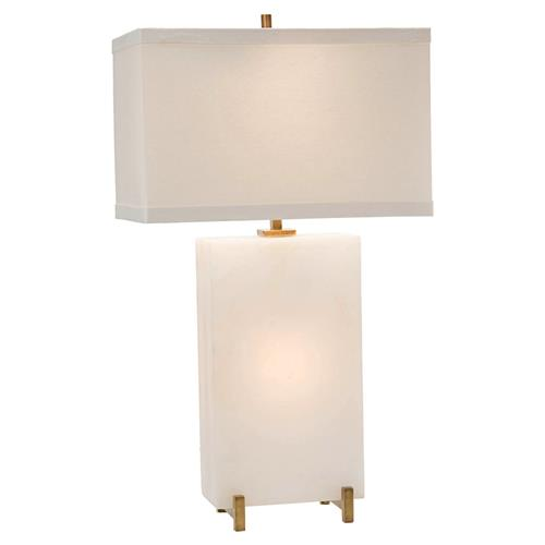 John-Richard Blair Modern Classic White Alabaster Tall Block Table Lamp | Kathy Kuo Home