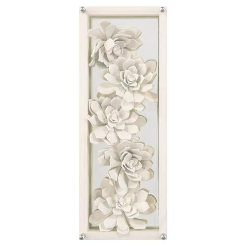Narnia Modern Hand Painted Large Ivory Succulents Framed Wall Art | Kathy Kuo Home