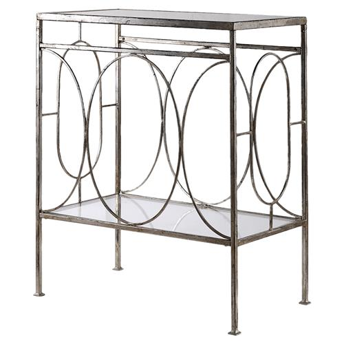 Peg Regency Ornate Silver Iron End Table | Kathy Kuo Home