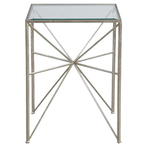 Vana Modern Classic Silver Iron Burst End Table | Kathy Kuo Home