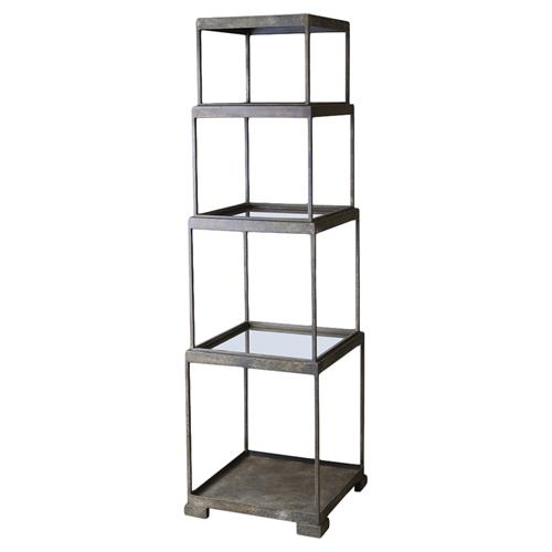 Fritz Industrial Loft Stacked Bronze Cube Etagere | Kathy Kuo Home