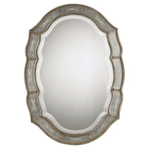 Collette French Antique Etched Gold Leaf Mirror | Kathy Kuo Home