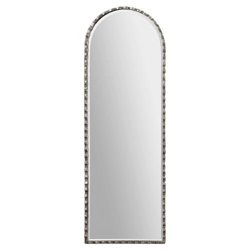 Industrial Floor Mirror: Halston Industrial Loft Scalloped Silver Metal Floor