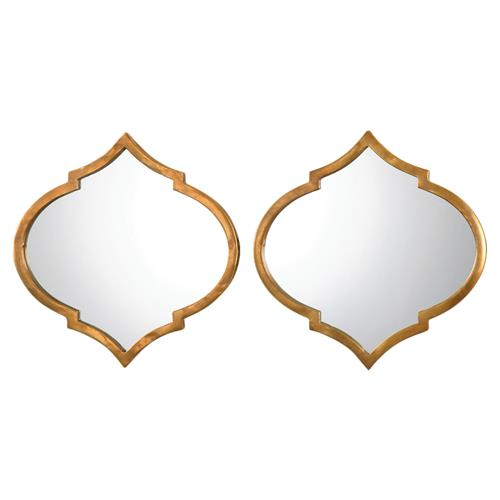 Hester Global Antique Gold Medallion Mirror - Pair | Kathy Kuo Home