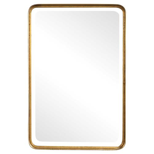 Rofel Modern Classic Gold Metal Strap Mirror | Kathy Kuo Home