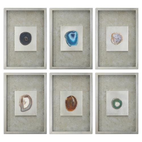 Emily Modern Classic Agate Stone Silver Shadow Box - Set of 6 | Kathy Kuo Home