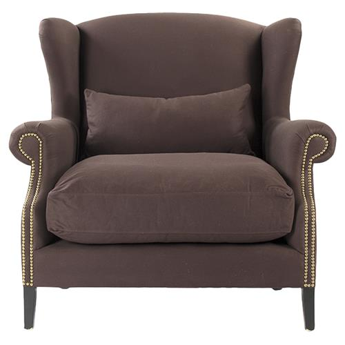 Napoleon Chocolate Brown Brass Nail Head Wingback Arm Chair | Kathy Kuo Home