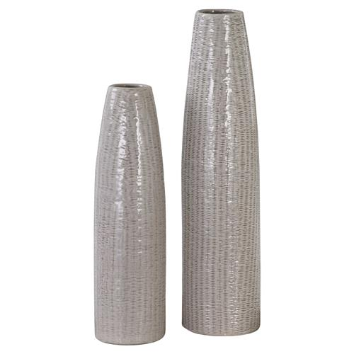 Paityn Taupe Textured Bazaar Tall Ceramic Vases - Pair | Kathy Kuo Home