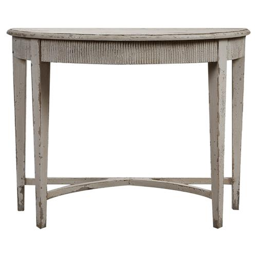 Dom french vintage rustic demilune console table kathy kuo home - White demilune console table ...