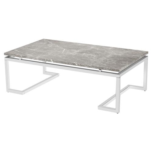 Oracle Grey Marble Coffee Table: Interlude Harper Regency Silver Grey Marble Coffee Table