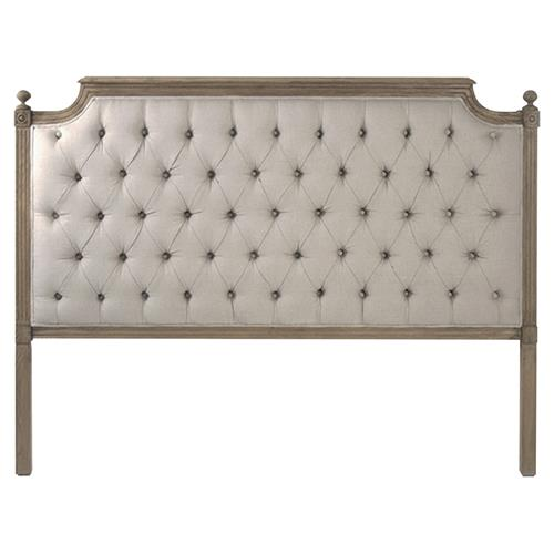 Louis French Country Flax Grey Linen Button Tufted Natural Oak Headboard - Queen | Kathy Kuo Home